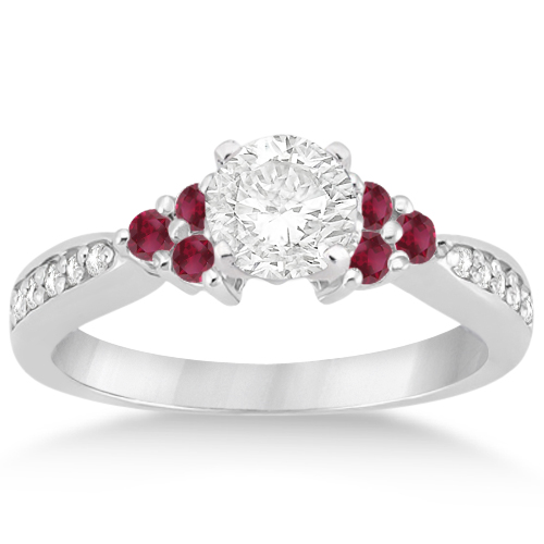 Floral diamond and ruby engagement ring setting 14k white for Wedding rings with rubies and diamonds