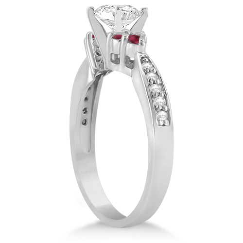 Floral Diamond and Ruby Engagement Ring & Band 14k White Gold (0.60ct)