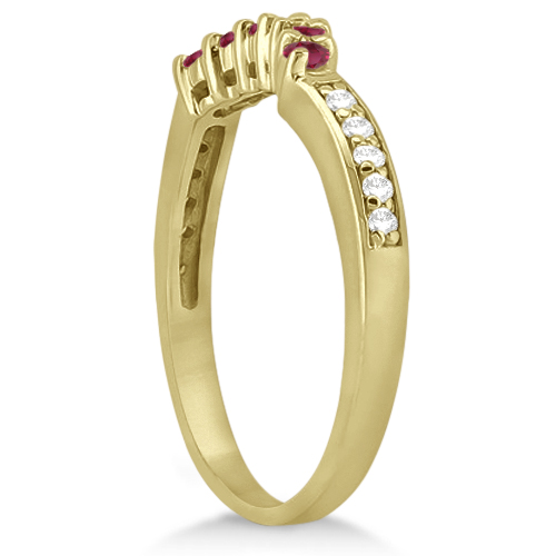 Floral Diamond and Ruby Engagement Ring & Band 18k Yellow Gold (0.60ct)