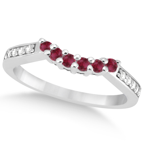 Floral Diamond and Ruby Engagement Ring & Band Platinum (0.60ct)