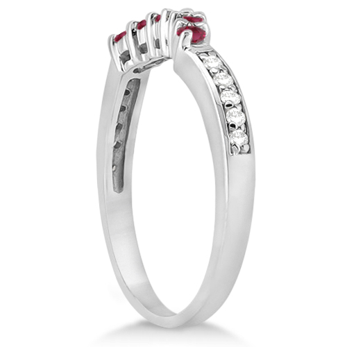 Floral Diamond and Ruby Wedding Ring 14k White Gold (0.30ct)