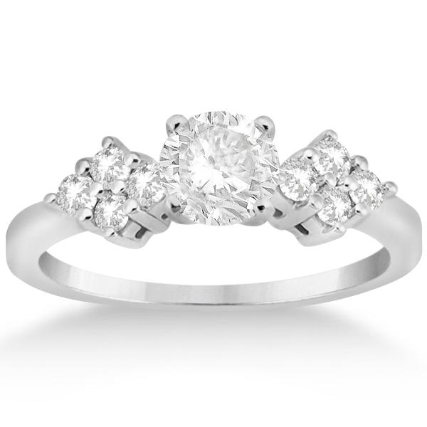 Modern Diamond Cluster Engagement Ring 14k  White Gold (0.24ct)