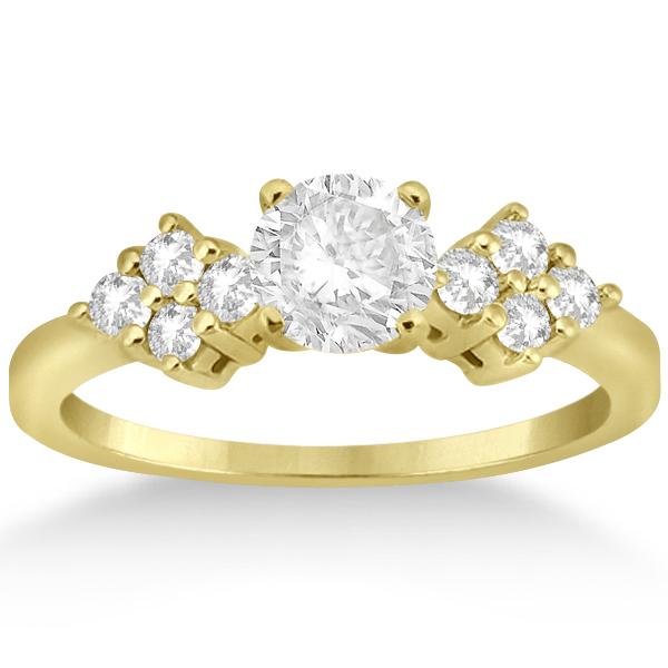Modern Diamond Cluster Engagement Ring 18k Yellow Gold (0.24ct)