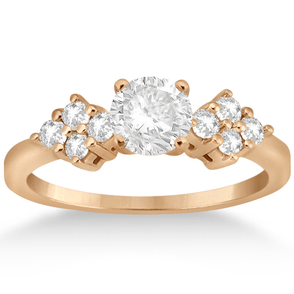 Diamond Cluster Engagment Ring & Wedding Band 14k Rose Gold (0.24ct)