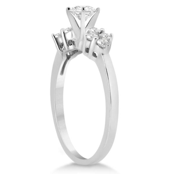 Diamond Cluster Engagment Ring & Wedding Band 14k White Gold (0.34ct)