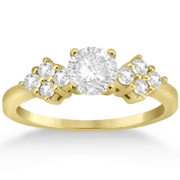 Diamond Cluster Engagment Ring & Wedding Band 14k Yellow Gold (0.34ct)