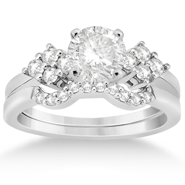 Diamond Cluster Engagment Ring & Wedding Band Palladium (0.24ct)