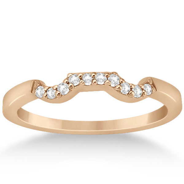 Modern Contour Diamond Wedding Band for Women 14k Rose Gold (0.10ct)