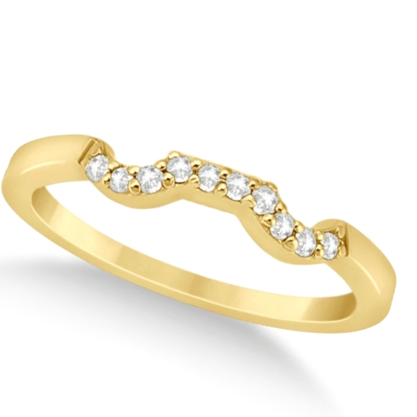 Modern Contour Diamond Wedding Band for Women 14k Yellow Gold (0.10ct)