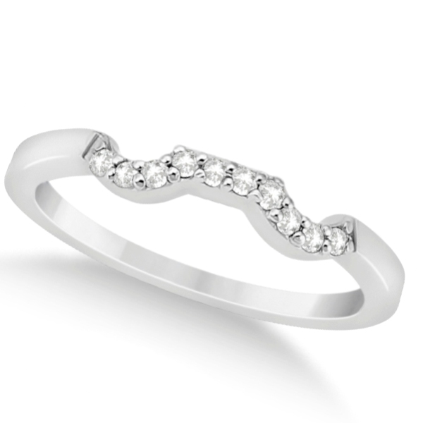 Modern Contour Diamond Wedding Band for Women 18k White Gold (0.10ct)