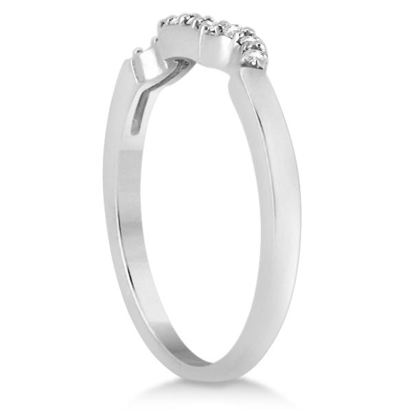 Modern Contoured Diamond Wedding Band for Women Platinum (0.10ct)