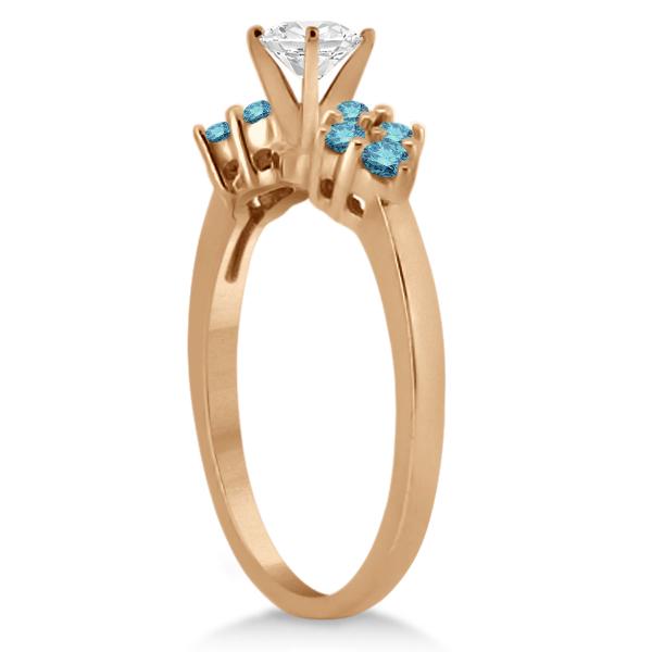 Designer Blue Diamond Floral Engagement Ring 18k Rose Gold (0.24ct)