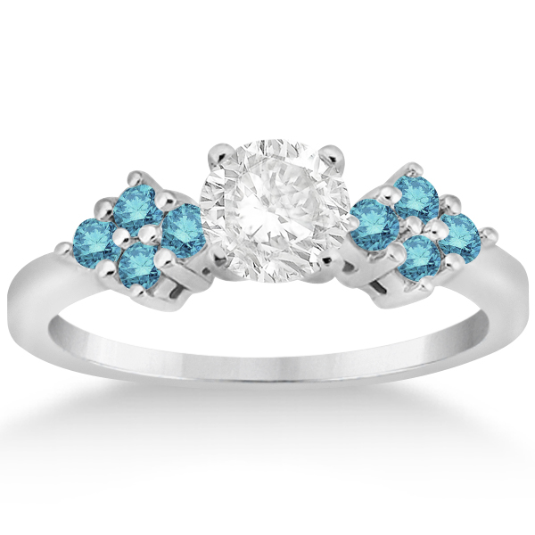 Designer Blue Diamond Floral Engagement Ring in Platinum (0.24ct)