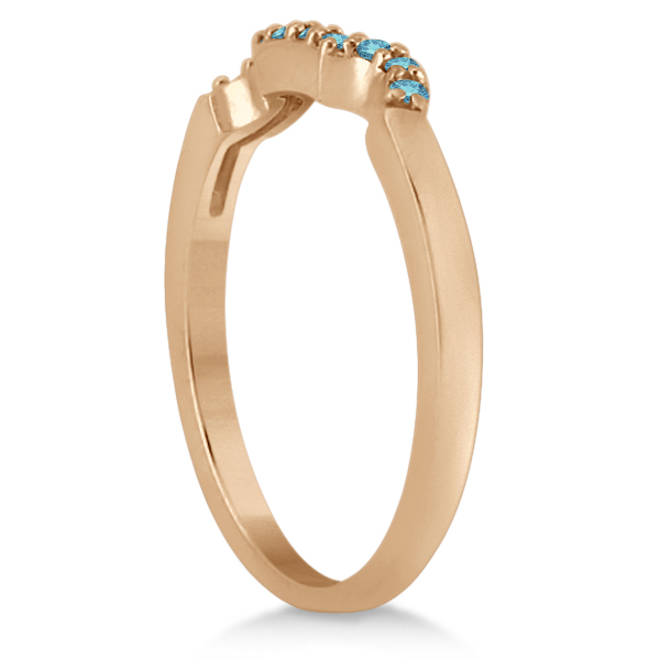 Blue Diamond Engagement Ring & Wedding Band 14k Rose Gold (0.34ct)