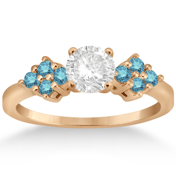 Blue Diamond Engagement Ring & Wedding Band 18k Rose Gold (0.34ct)