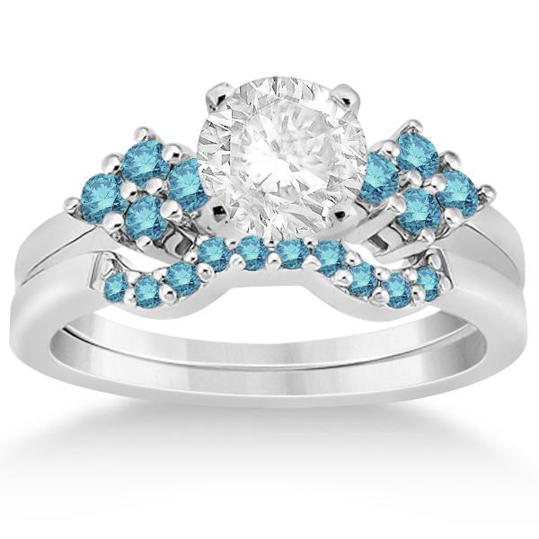 blue diamond engagement ring wedding band 18k white gold - Blue Diamond Wedding Rings