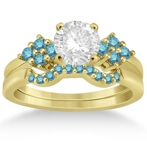 Blue Diamond Engagement Ring & Wedding Band 18k Yellow Gold (0.34ct)