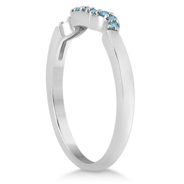 Pave Set Blue Diamond Contour Wedding Band 14k White Gold (0.10ct)