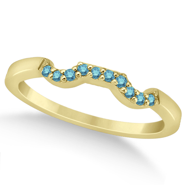 Pave Set Blue Diamond Contour Wedding Band 14k Yellow Gold (0.10ct)