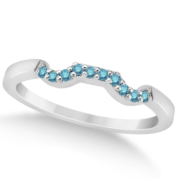 Pave Set Blue Diamond Contour Style Wedding Band in Platinum (0.10ct)