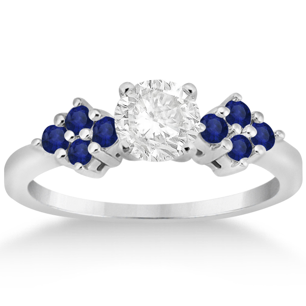 Designer Blue Sapphire Floral Engagement Ring in Palladium (0.35ct)