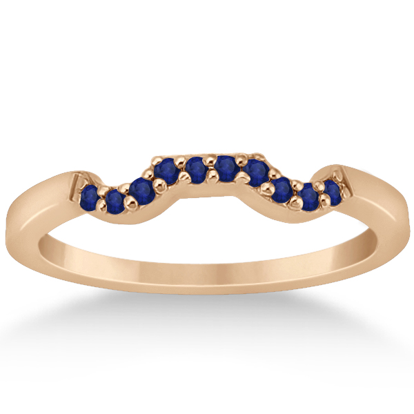 Blue Sapphire Engagement Ring & Wedding Band 18k Rose Gold (0.50ct)
