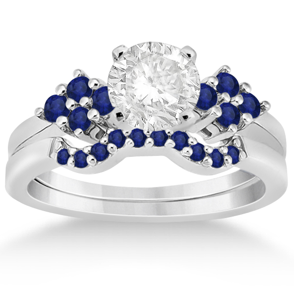 Blue Sapphire Engagement Ring & Wedding Band 18k White Gold (0.50ct)