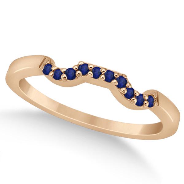 Pave Set Blue Sapphire Contour Wedding Band 14k Rose Gold (0.15ct)