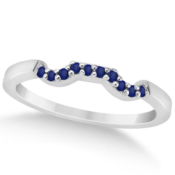 Pave Set Blue Sapphire Contour Wedding Band 18k White Gold (0.15ct)