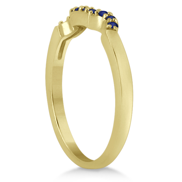 Pave Set Blue Sapphire Contour Wedding Band 18k Yellow Gold (0.15ct)