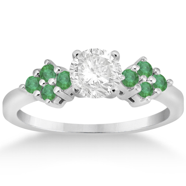 Designer Green Emerald Floral Engagement Ring 14k White Gold (0.28ct)
