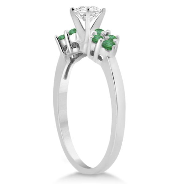 Designer Green Emerald Floral Engagement Ring 18k White Gold (0.28ct)
