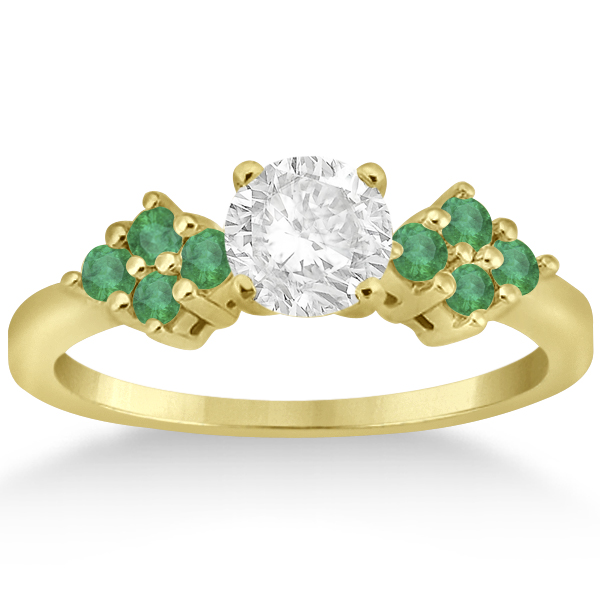 Designer Green Emerald Floral Engagement Ring 18k Yellow Gold (0.28ct)