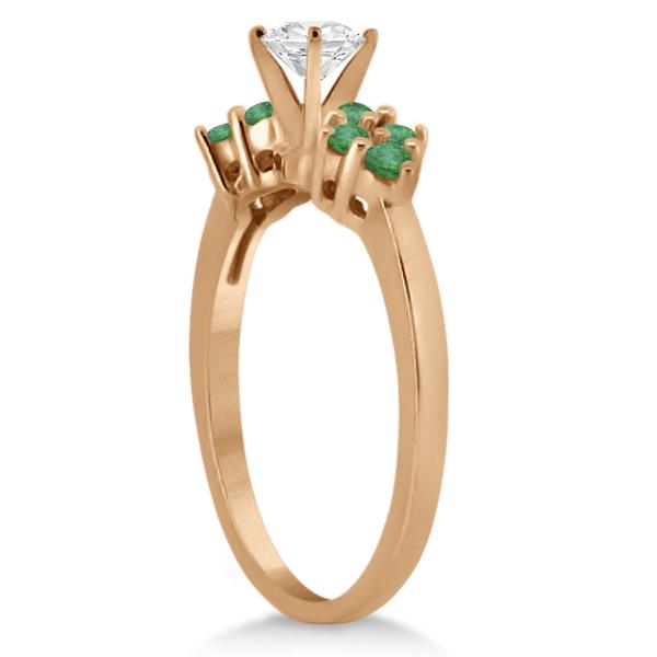 Green Emerald Engagement Ring & Wedding Band 14k Rose Gold (0.40ct)