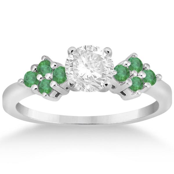 green emerald engagement ring wedding band 14k white