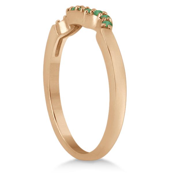 Pave Set Green Emerald Contour Wedding Band 18k Rose Gold (0.12ct)