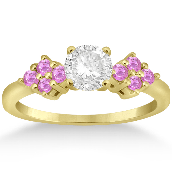Designer Pink Sapphire Floral Engagement Ring 14k Yellow Gold (0.35ct)