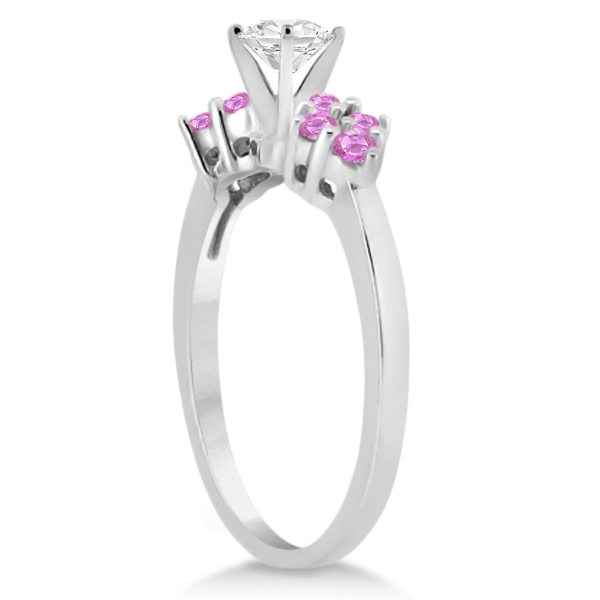 Designer Pink Sapphire Floral Engagement Ring 18k White Gold (0.35ct)