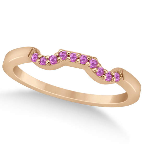 Pave Set Pink Sapphire Contour Wedding Band 14k Rose Gold (0.15ct)