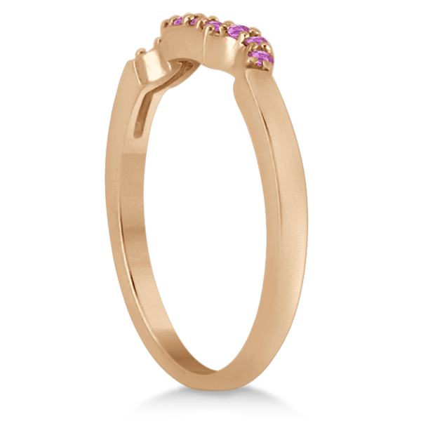 Pave Set Pink Sapphire Contour Wedding Band 18k Rose Gold (0.15ct)