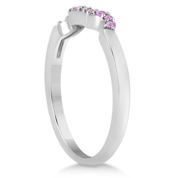Pink Sapphire Pave Set Contour Wedding Band 18k White Gold (0.15ct)