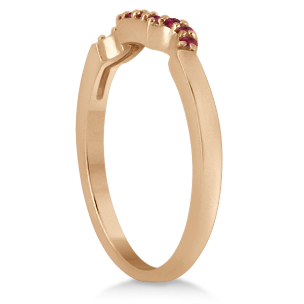 Ruby Floral Engagement Ring & Wedding Band 14k Rose Gold (0.50ct)
