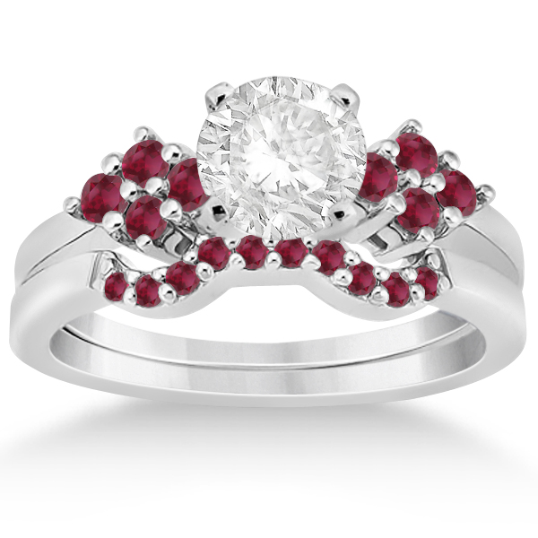 Ruby Floral Engagement Ring & Wedding Band 14k White Gold (0.50ct)