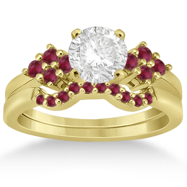 Ruby Floral Engagement Ring & Wedding Band 18k Yellow Gold (0.50ct)