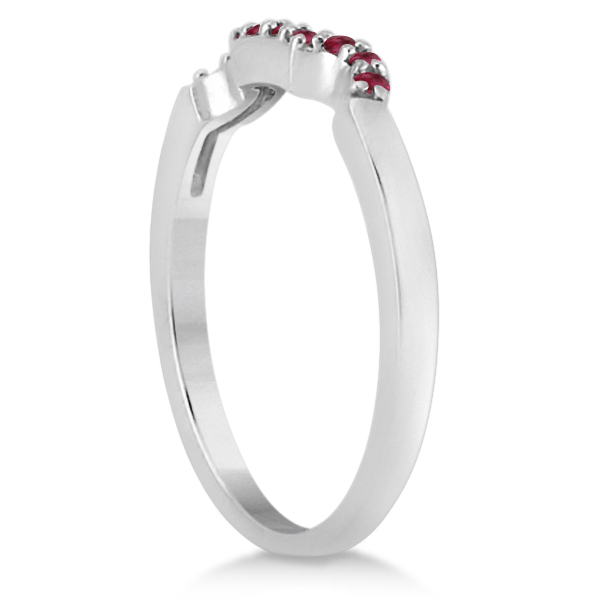 Pave Set Ruby Contour Style Floral Wedding Band in Palladium (0.15ct)