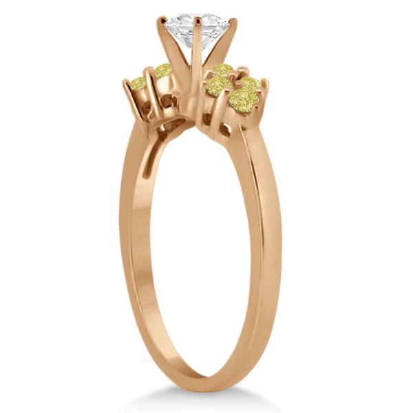 Designer Yellow Diamond Floral Engagement Ring 14k Rose Gold (0.24ct)