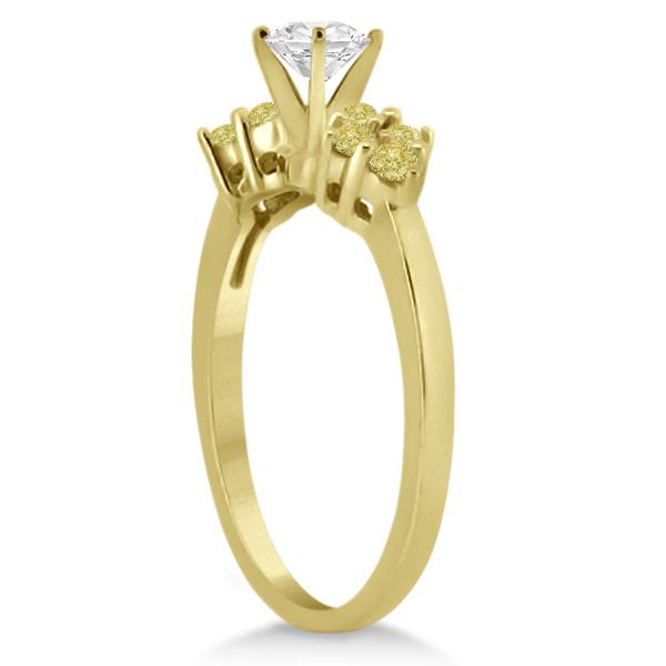 Designer Yellow Diamond Floral Engagement Ring 14k Yellow Gold 0.24ct