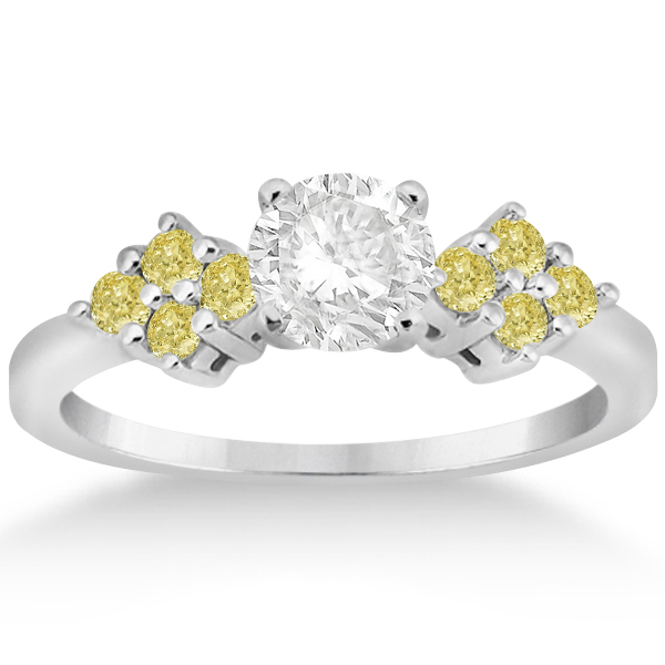 Designer Yellow Diamond Floral Engagement Ring 18k White Gold (0.24ct)