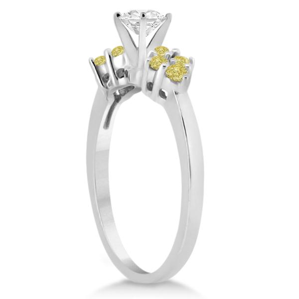 Designer Yellow Diamond Floral Engagement Ring Palladium (0.24ct)