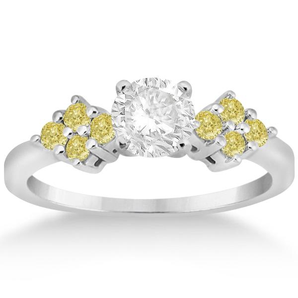 Yellow Diamond Engagement Ring & Wedding Band in Palladium (0.34ct)